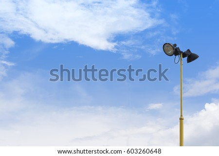 Lamp post with blue sky background #603260648