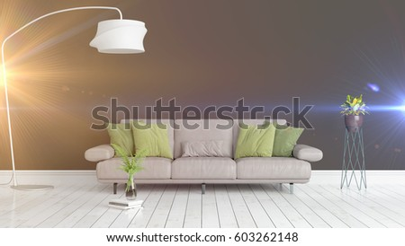 Modern bright interior . 3D rendering #603262148