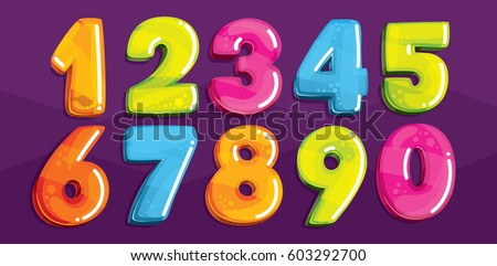 Vector cartoon kids figures. Set of color numbers Royalty-Free Stock Photo #603292700