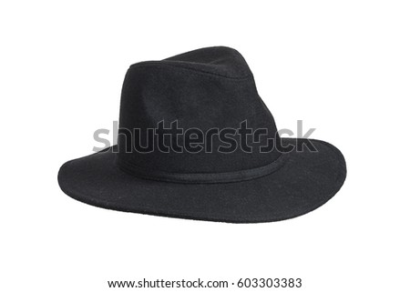 Black woolen hat isolated on white with clipping path. #603303383