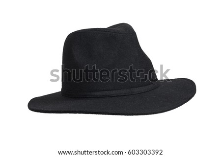 Black woolen hat isolated on white with clipping path. #603303392