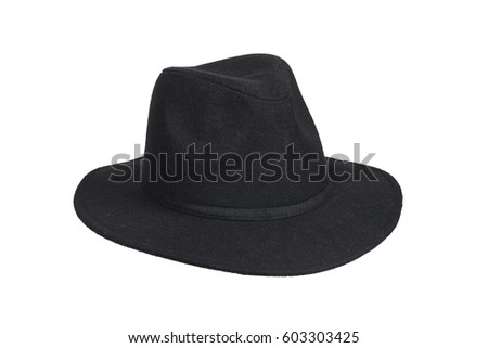 Black woolen hat isolated on white with clipping path. #603303425