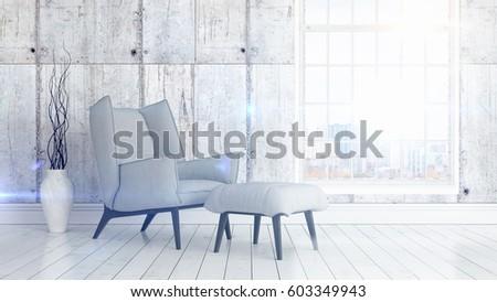 Modern bright interior . 3D rendering #603349943