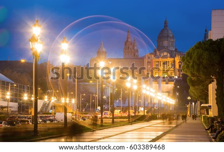 Picturesque National Art Museum of Catalonia in evening in Barcelona #603389468