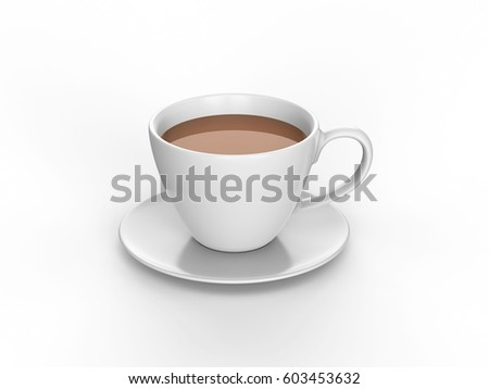 3D illustration white cup and saucer with tea coffee on a white background #603453632