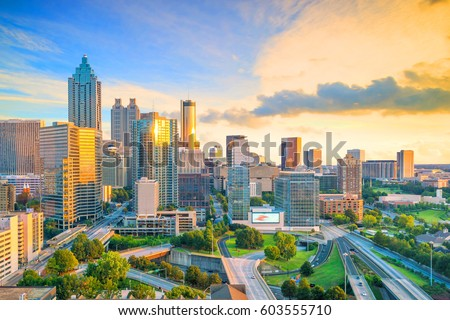 Skyline of Atlanta city at sunset in Georgia, USA