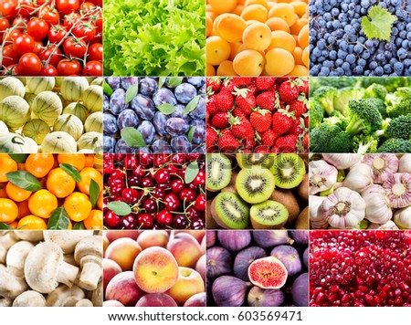 collage of various fruits and vegetables as background #603569471