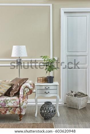 living room classic decoration frame wall retro concept, interior design  #603620948