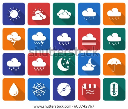 Collection of rounded square icons: Weather #603742967