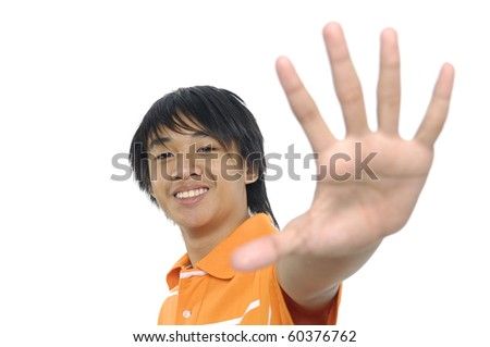 young man making stop with his hand #60376762