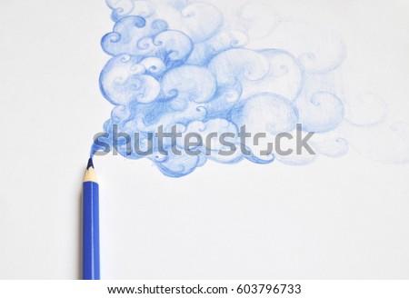 Pencil drawing blue smoke Royalty-Free Stock Photo #603796733