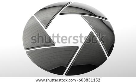 Cinema camera iris sign. Photography lens symbol, 3d rendering