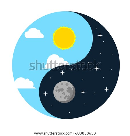 Day, night. Moon and sun. Vector. Isolated. #603858653
