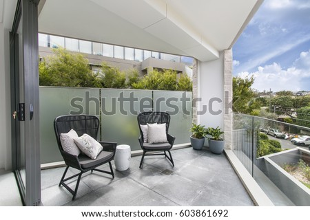 gorgeous balcony with beautiful view Royalty-Free Stock Photo #603861692