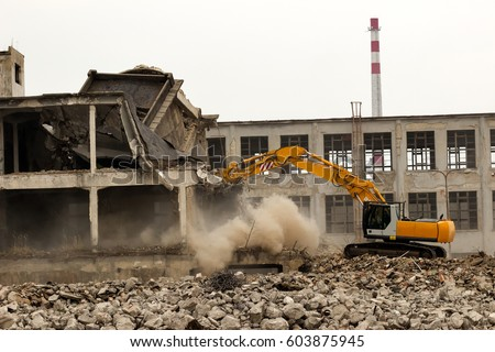Building demolition Royalty-Free Stock Photo #603875945