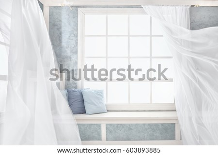 Bright room interior, curtains, white window sill, pillows, plaster. #603893885