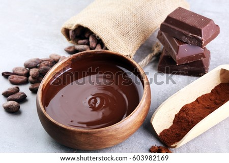 Melting chocolate / melted chocolate/ chocolate swirl/ stack/ chips and powder #603982169