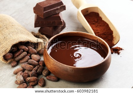 Melting chocolate / melted chocolate/ chocolate swirl/ stack/ chips and powder #603982181