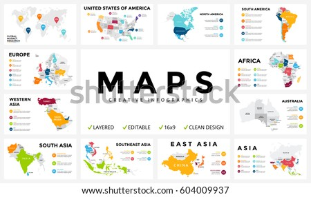 Vector map infographic. Slide presentation. Global business marketing concept. Country world transportation infographics data. Economic statistic. World, America, Africa, Europe, Asia, Australia, USA Royalty-Free Stock Photo #604009937
