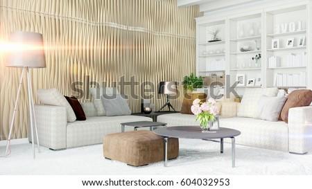 Modern bright interior . 3D rendering #604032953