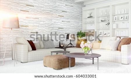 Modern bright interior . 3D rendering #604033001