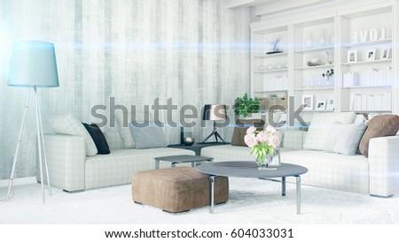 Modern bright interior . 3D rendering #604033031