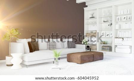 Modern bright interior . 3D rendering #604045952