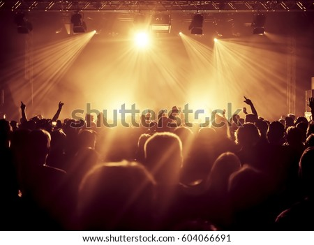 cheering crowd at a rock concert #604066691
