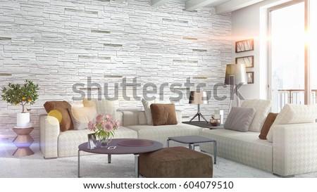 Modern bright interior . 3D rendering #604079510