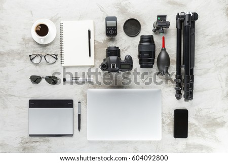 photography accessories on work table top view #604092800