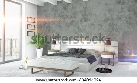 Modern bright interior . 3D rendering #604096094