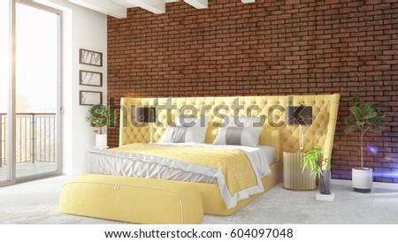 Modern bright interior . 3D rendering #604097048