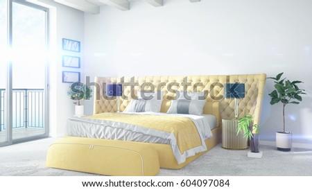 Modern bright interior . 3D rendering #604097084