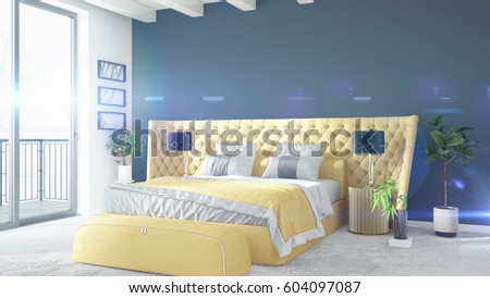 Modern bright interior . 3D rendering #604097087