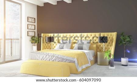 Modern bright interior . 3D rendering #604097090