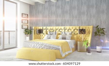 Modern bright interior . 3D rendering #604097129
