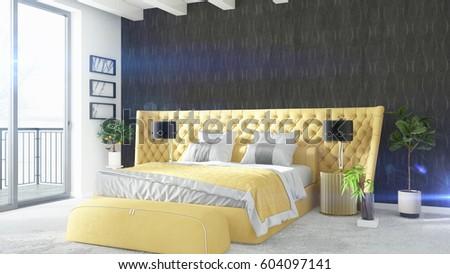 Modern bright interior . 3D rendering #604097141
