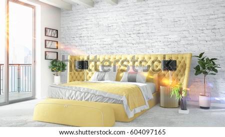 Modern bright interior . 3D rendering #604097165