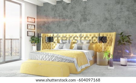 Modern bright interior . 3D rendering #604097168