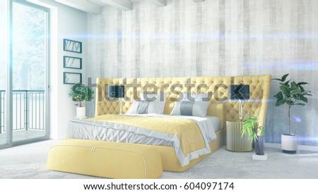 Modern bright interior . 3D rendering #604097174