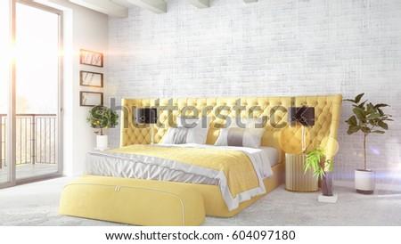 Modern bright interior . 3D rendering #604097180