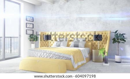 Modern bright interior . 3D rendering #604097198