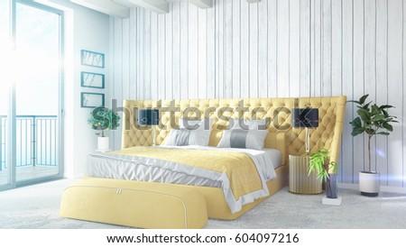 Modern bright interior . 3D rendering #604097216