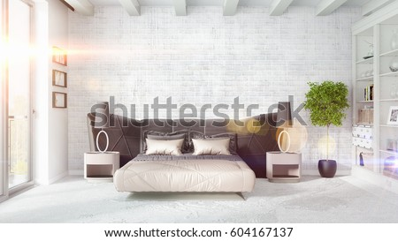 Modern bright interior . 3D rendering #604167137