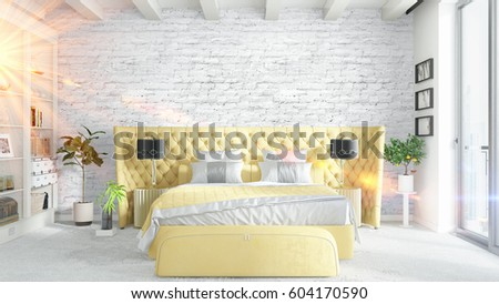 Modern bright interior . 3D rendering #604170590