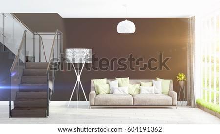 Modern bright interior . 3D rendering #604191362