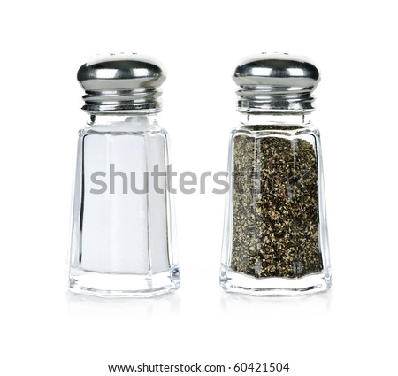 Glass salt and pepper shakers isolated on white background Royalty-Free Stock Photo #60421504