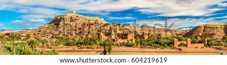 Panoramic view of Ait Ben Haddou, a UNESCO world heritage site in Morocco Royalty-Free Stock Photo #604219619