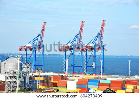 Port cargo crane and container, ready for shipment #604270409