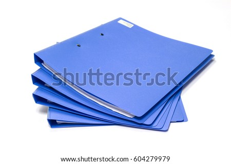 blue files folder. retention of contracts and paper. with isolated white background